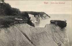 Ak Insel Rügen in der Ostsee, Partie am Kielerbach, Klippe, Meer