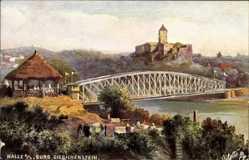 Künstler Ak Halle an der Saale, Blick von Cröllwitz auf Burg Giebichenstein