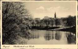 Ak Ragnit Ostpreußen, Mühlenteich mit Blick auf die Kirche
