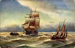 Künstler Ak Segelboot unter vollen Segeln auf dem Meer mit Beiboot