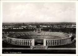 Ak Berlin Charlottenburg, Blick auf das alte Reichssportfeld, Olympische Ringe