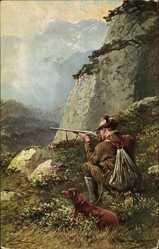 Künstler Ak Müller, M., Jäger mit angelegtem Gewehr, Dackel, Gebirge
