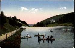 Postcard Duszniki Zdrój Bad Reinerz Schlesien, Partie am Denglerteich