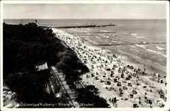 Postcard Kołobrzeg Kolberg Pommern, Strand nach Westen, Strandkörbe