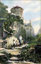 Künstler Ak Spitzweg C., Präsentiert das Gewehr, Burg, Stengel
