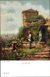 Künstler Ak Spitzweg, Carl, Lug ins Land,Wachsoldat,Wachhäusschen,Ackermann 294