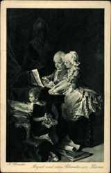 Künstler Ak Schneider, H., Mozart und seine Schwester am Klavier