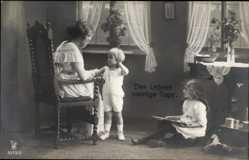 Ak Des Lebens sonnige Tage, Mutter mit ihren zwei Kindern, Holzpferd, NPG 3973 5