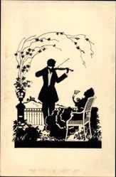 Scherenschnitt Ak Mann mit Geige, sitzende Frau mit Fächer