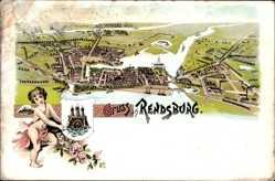 Litho Rendsburg Nord Ostsee Kanal, Gesamtansicht, Engel, Wappen