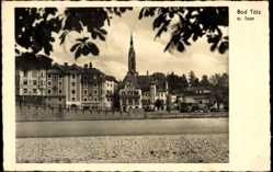 Postcard Bad Tölz im Isartal Oberbayern, Blick auf den Ort, Kirchturm, Häuser