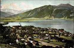 Postcard Tegernsee im Kreis Miesbach Oberbayern, Totale, Seepartie, Berge
