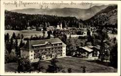 Postcard Kreuth Oberbayern, Blick auf das Sanatorium Dr. May, Kirche, Berge