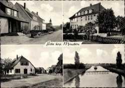 Postcard Hille in Ostwestfalen, Straßenpartie im Ort, Fluss, Brücke, Kirche