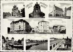Postcard Minden Westfalen, Rathaus, Dom, Denkmal, Stadteingang, Weser, Brücke