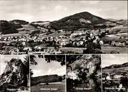 Postcard Bedesbach in der Pfalz, Schwarzer Felsen, Grünes Wasser, Totale, Steinbruch