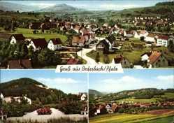 Postcard Bedesbach in der Pfalz, Totalansicht der Ortschaft, Berg, Wald, Felder