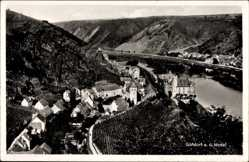 Postcard Gondorf an der Mosel, Blick auf den Ort, Flusspartie, Berge, Weinstöcke