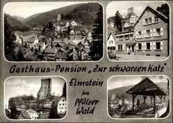 Postcard Elmstein im Kreis Bad Dürkheim, Gasthaus zur schwarzen Katz, Mansmann