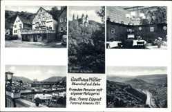 Postcard Obernhof Lahn Rheinland Pfalz, Gasthaus Müller, Fremdenpension