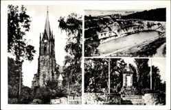 Postcard Lerbeck Porta Westfalica in Nordrhein Westfalen, Kirche, Denkmal, Blauer See