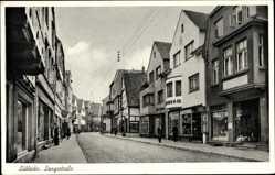 Postcard Lübbecke in Ostwestfalen, Langestraße, Geschäfte, Straßenpartie