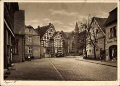 Postcard Enger im Kreis Herford, Straßenpartie, Drogerie, Fachwerkhaus, Kirche