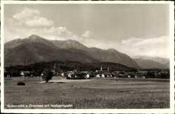 Postcard Grabenstätt Chiemgau Oberbayern, Totalansicht vom Ort mit Hochgerngipfel