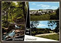 Postcard Rennerod Weserwald, Totalansicht vom Ort, Fließ im Wald