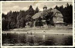 Postcard Braunlage im Oberharz, Waldschwimmbad mit Hotel Bodefall