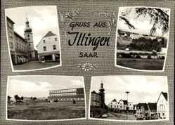 Postcard Illingen an der Saar , Straßenpartie, Schule, Kirche, Autos, Schlarb Wottke