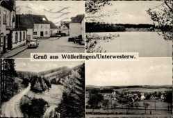 Postcard Wölferlingen Unterwesterwald, Straßenpartie im Ort, See, Waldweg