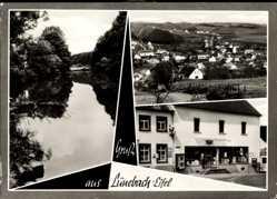 Postcard Lünebach in der Eifel, Kaufhaus Felix Pütz, Gewässer, Totale