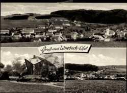 Postcard Lünebach in der Eifel, Totalansicht der Ortschaft, Denkmal, Felder
