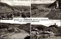 Postcard Ellenz Mosel, Burgruine Metternich, Blick auf den Beilstein, Burg