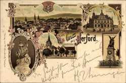 Litho Herford in Nordrhein Westfalen, Stadtpanorama, Denkmal, Postamt, Kirche