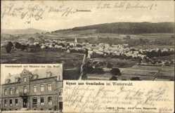 Litho Gemünden im Westerwald, Gastwirtschaft Otto Wolf, Totale
