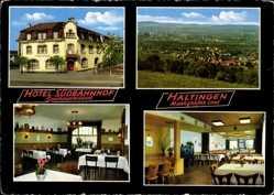 Postcard Haltingen Weil am Rhein, Hotel Südbahnhof, Speiserestaurant,Bes. Gustav Hagin