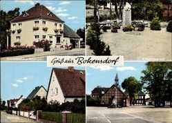 Postcard Bokensdorf Niedersachsen, Geschäft Baumann, Kriegerdenkmal, Sieldung, Schule