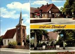 Postcard Vordorf Kr. Gifhorn, Ansicht der Kirche, Gasthaus, Kriegerdenkmal
