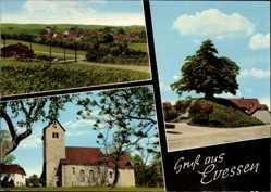 Postcard Evessen Niedersachsen, Kirche, Baum, Hügel, Totalansicht vom Ort