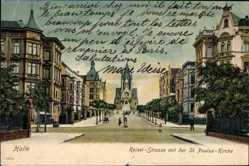 Ak Halle an der Saale, Kaiser Straße mit der St. Paulus Kirche, Häuser