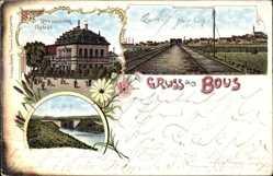 Litho Bous Saar, Restauration Gabriel, Schleuse und Ort, Bahngleise