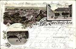 Litho Zweibrücken in Rheinland Pfalz, Gesamtansicht, Schloss, Herzogstraße