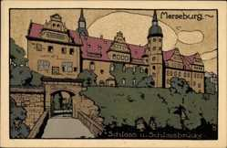Steindruck Ak Merseburg an der Saale, Schloss und Schlossbrücke