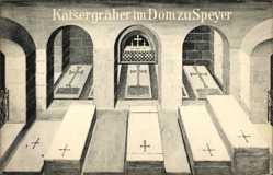 Künstler Ak Speyer am Oberrhein Rheinland Pfalz, Kaisergräber im Dom