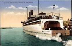Ak Sassnitz auf der Insel Rügen, Fährschiff Preußen in See gehend