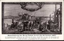 Künstler Ak Zlotów Flatow Westpreußen, Beschießung der Burg 1657 durch Schweden