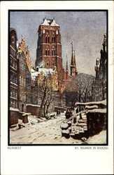 Künstler Ak Bendrat, Gdańsk Danzig, Blick auf die Kirche St. Marien, Winter