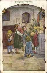 Künstler Ak Ebner, Pauli, Glückwunsch Ostern, Kinder beten am Altar